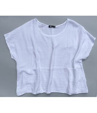 M Made in Italy S/S  Scoop Neck Cotton Top - White