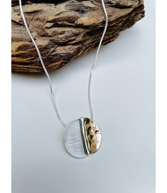 Grey and Silver Medallion Necklace