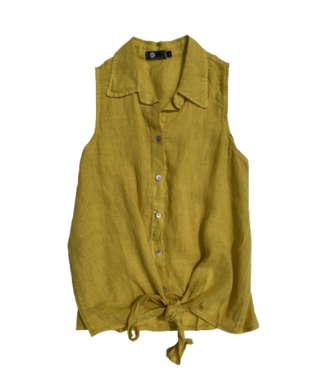 M Made in Italy Button Down Sleeveless Shirt w/Waist Tie - Yellow