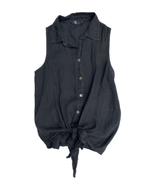 M Made in Italy Button Down Sleeveless Shirt w/Waist Tie - Anthracite