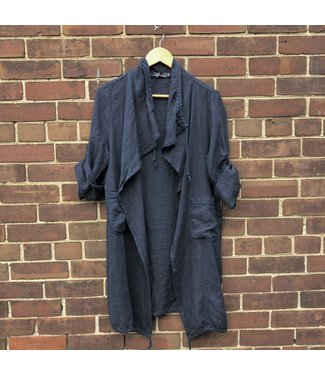 M Made in Italy L/S Linen Cardigan - Navy