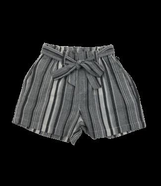 Point Zero Striped linen blend shorts w/ tie belt