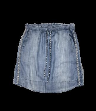 Point Zero Elastic Waist Short Skirt with Trim - Denim