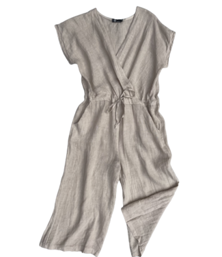 M Made in Italy Linen Jumpsuite - Beige