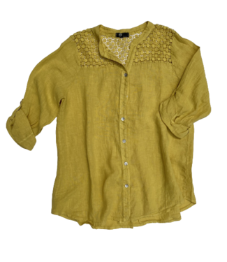 M Made in Italy Linen L/S Top with Lace Detail - Yellow