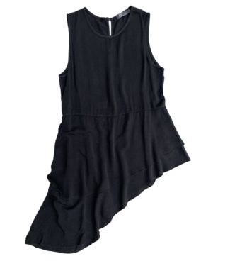M Made in Italy Woven Asymmetrical Top - Black