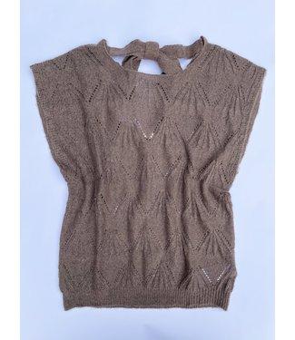 Cream Mary Knit Slipover - Brown