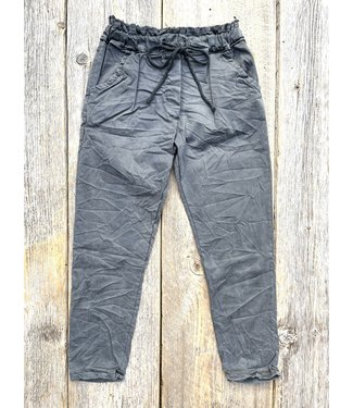 Made in Italy Crinkled Lyocell Pants - Grey