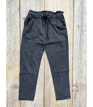 Made in Italy Crinkled Lyocell Pants - Black