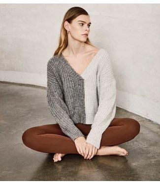 ICHI Sweater V-Neck - Grey Melange
