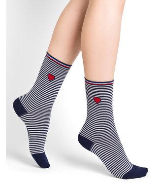BleuForet Cotton Socks - Navy Stripes