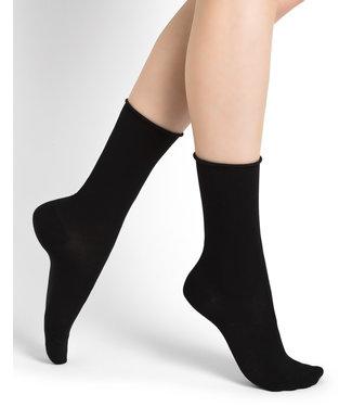 BleuForet Roll Top Cotton Socks - Black
