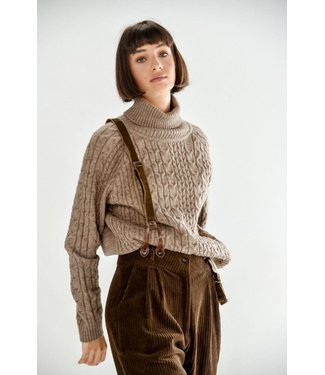 Molly Bracken Cable Knit Turtle Neck Sweater - Brown