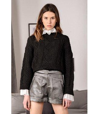 Molly Bracken Sweater with Lace Cuffs - Black