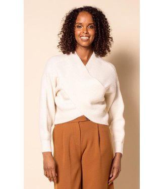 Pink Martini Sweater Cross Front - White