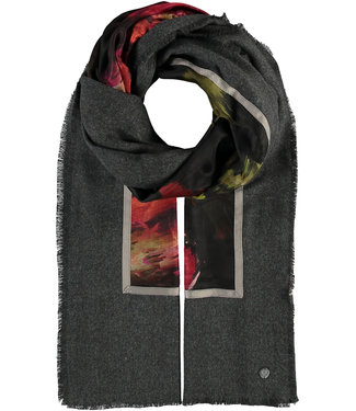Fraas Painted Rose Patchwork Scarf - Charcoal