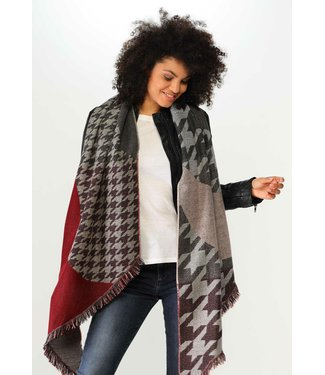 Fraas Houndstooth Block Bias Scarf - Classic Red