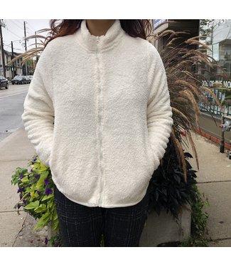 Point Zero Fuzzy Zipper Cardigan - White