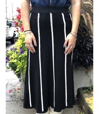 WNT Long Knit Skirt - Black with White Stripes