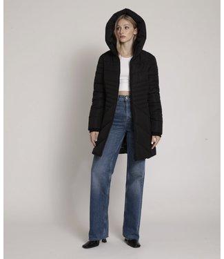 Point Zero Long Hooded Puffer Coat - Black
