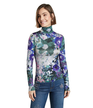 Desigual Silky Turtleneck - Purple Floral Print