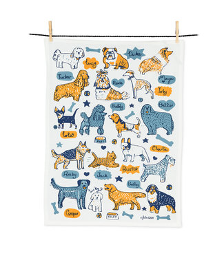 Abbott Dogs with Names Tea Towel