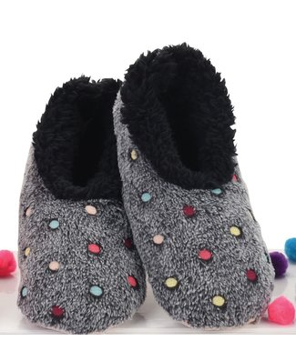 Snoozies Slippers - Lotsa Dots Black