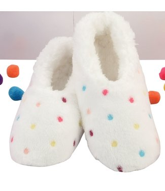 Snoozies Slippers - Lotsa Dots White