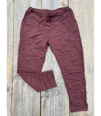 Made in Italy Crinkled Joggers  - Burgundy