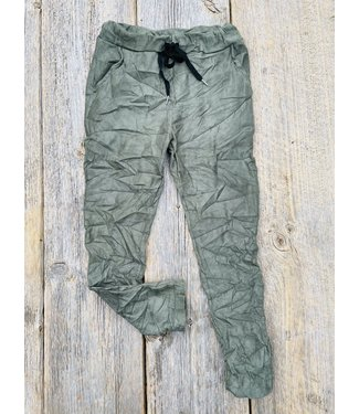Made in Italy Crinkled Pants Faux Suede - Military