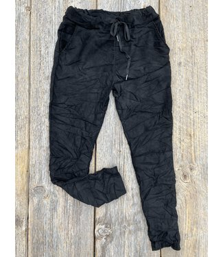 Made in Italy Crinkled Pants Faux Suede - Black