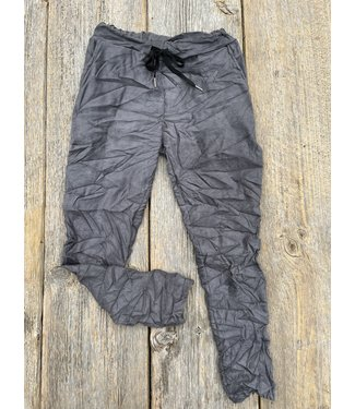 Made in Italy Crinkled Pants Faux Suede - Grey