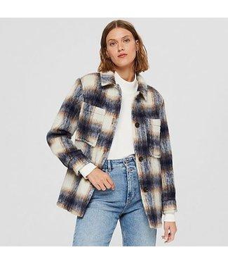 Esprit Check Wool Shacket - Navy/Cream