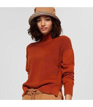 Esprit Cotton Mock Neck Sweater - Rust
