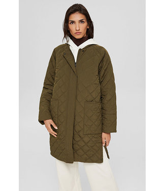 Esprit Quilted Long Puffer - Olive