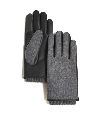 Brume World Wool and Leather Gloves w/ Cuff - Charcoal