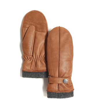 Brume World Leather Mittens w/ Snap Cuff - Camel
