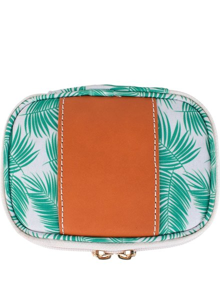 "Boulevard Zoe Palm Print Jewelry Case ""Good Vibes Only"""