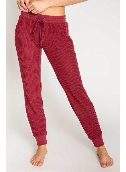 PJ Salvage Waffle Knit Merlot Banded Pant