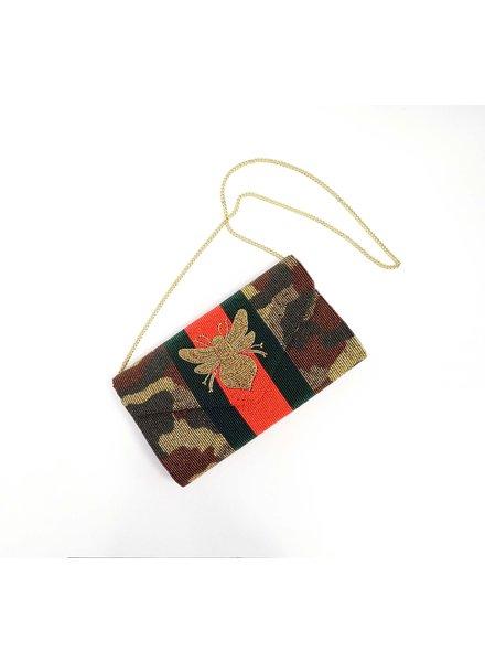 Tiana Designs Striped Beaded Bee Bag