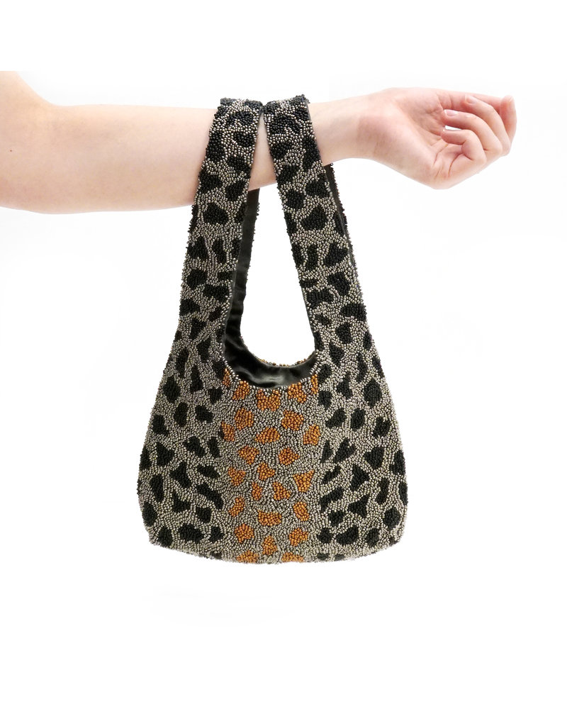 Tiana Designs Black Multi Small Beaded Tote