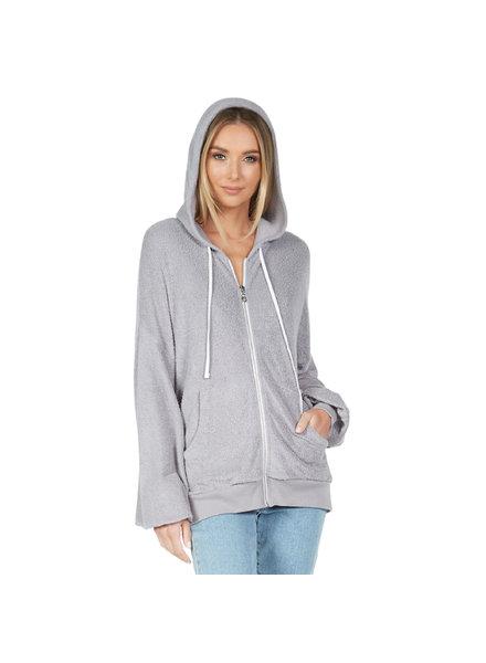Lauren Moshi Hayworth Drop Shoulder Zip Up  Hoodie