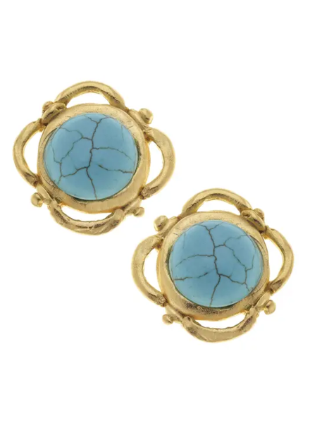 Susan Shaw Gold Turquoise Stud Earrings