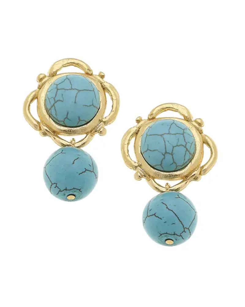 Susan Shaw Gold Turquoise Dangle Earrings