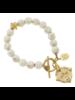 Susan Shaw White Turquoise Fleur de Lis Bracelet