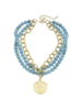 Susan Shaw Gold Coin 3-row Turquoise Necklace