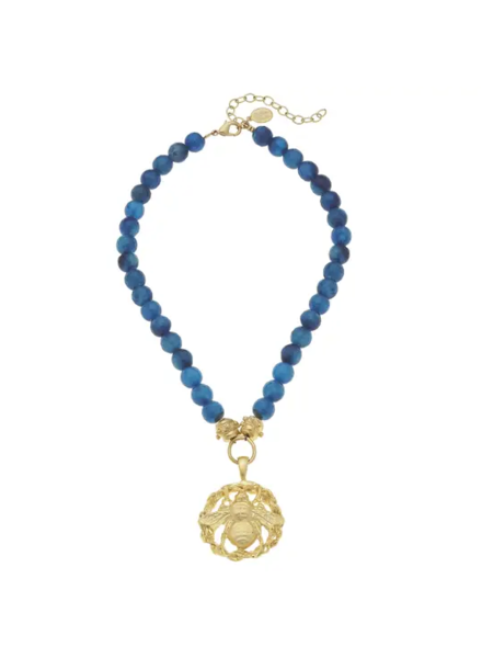 Susan Shaw Gold Bee Blue Agate Necklace