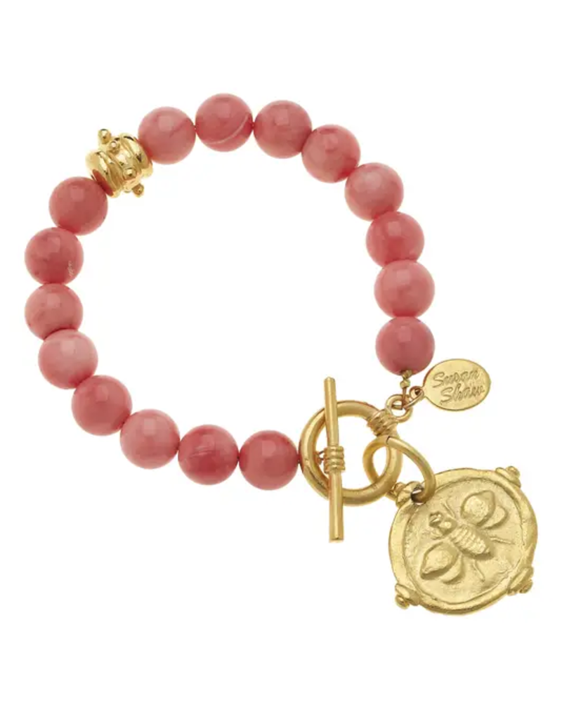 Susan Shaw Gold Bee Pink Coral Bracelet