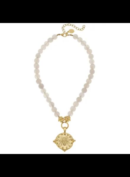Susan Shaw Gold Bee Rose Quartz Necklace