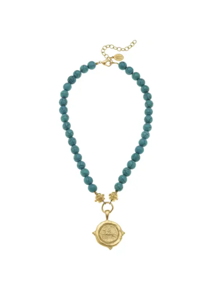 Susan Shaw Turquoise Equestrian Necklace